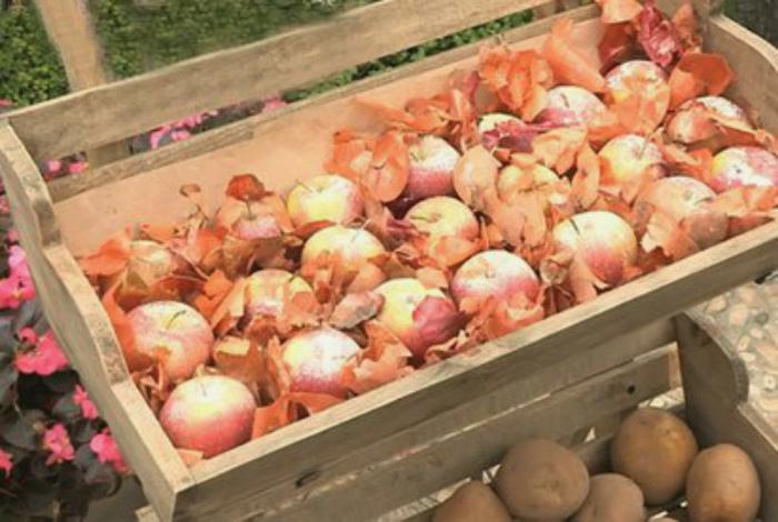 Луковая шелуха для хранения фруктов и овощей.