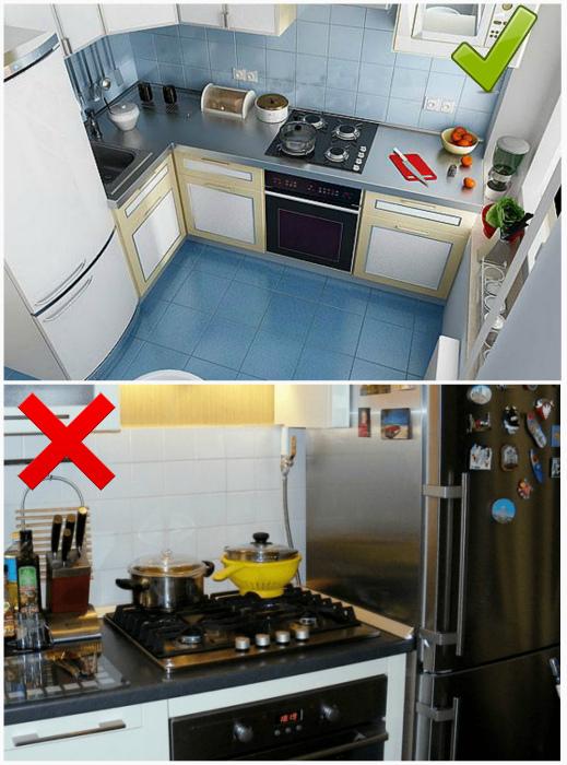 Оптимальное место для холодильника. | Фото: Дизайн и декор, U-mama.