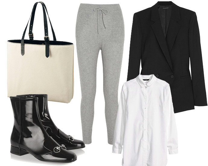 Выбор ELLE: рубашка H&M, блейзер Theory, сумка Uniqlo, сапоги Gucci
