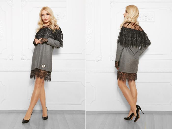 Женское платье из шерсти с кружевом.