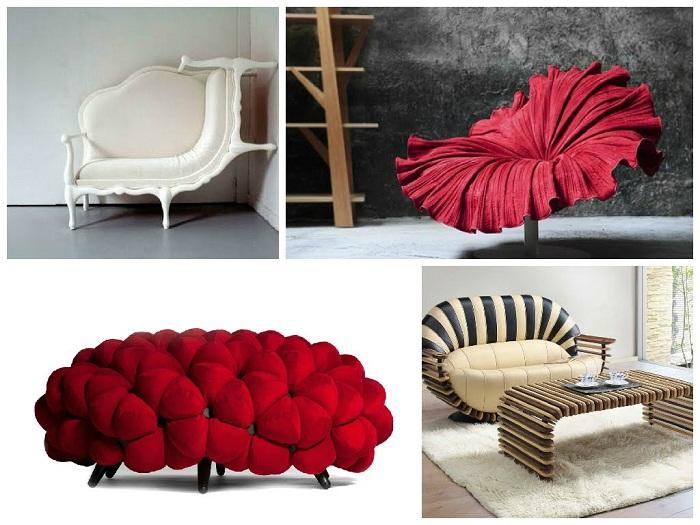 Невероятной формы диваны и кресла создадут уют и комфорт.