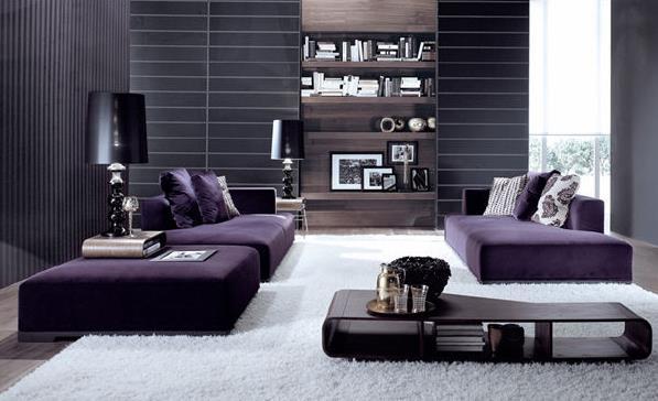 Фиолетовый модульный диван