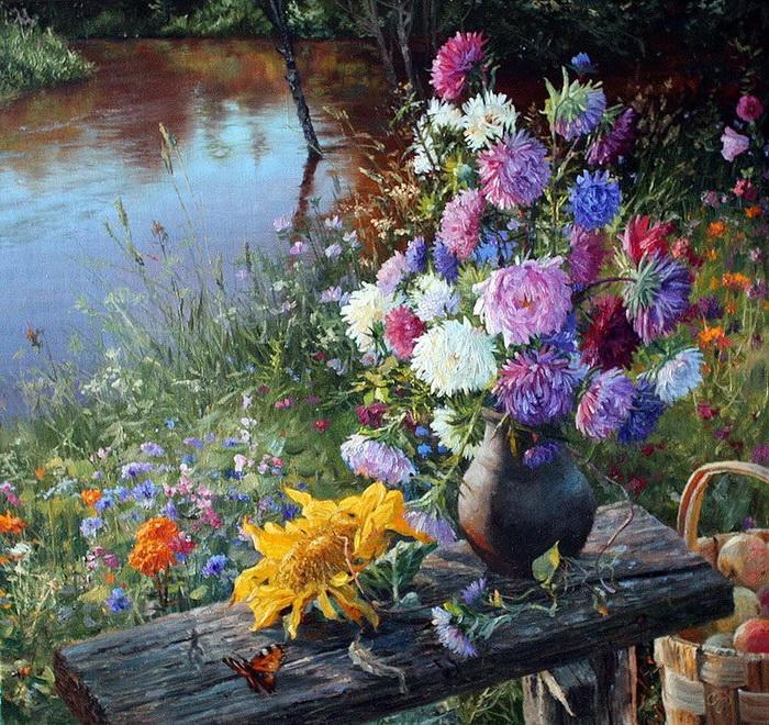 Цветы и травы на картинах Владимира Жданова