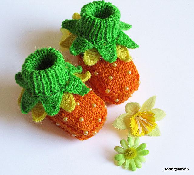 Милые пинетки с ботаническим уклоном