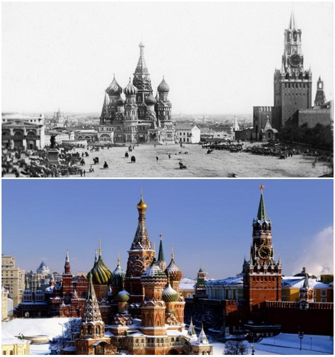 Один из первых дагерротипных снимков Московского Кремля сделанный в 1839 г. и современный вид. | Фото: andrej-ab.livejournal.com/ tourblogger.ru.
