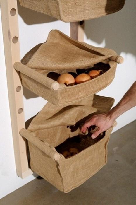 Текстильные органайзеры для хранения овощей
