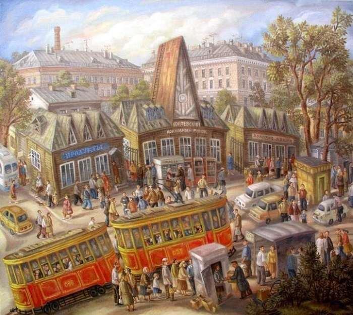 «Коптевский рынок». 90х100см. Холст-масло. 1983 год. Автор: Сергей Волков.