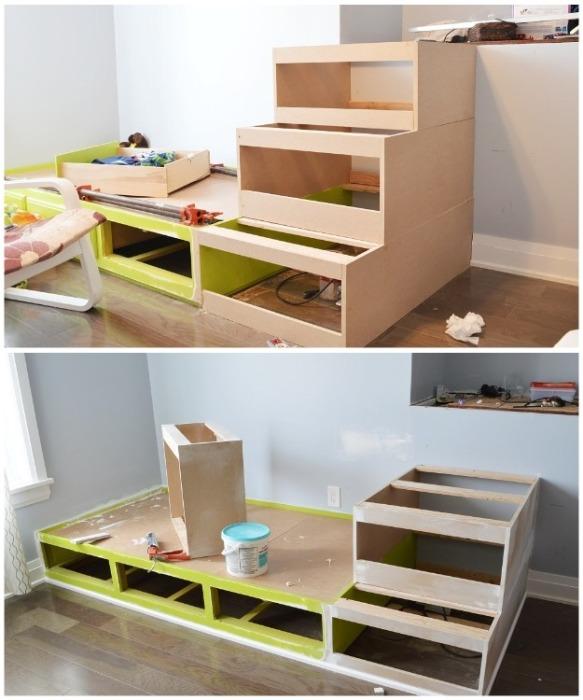 Для создания подиума и каркаса кровати можно использовать элементы старой мебели. | Фото: cpykami.ru.