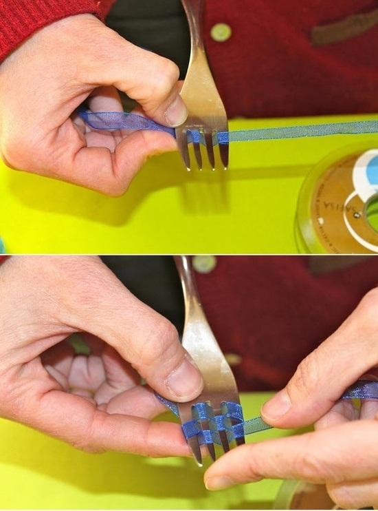 Как сделать бант с помощью вилки