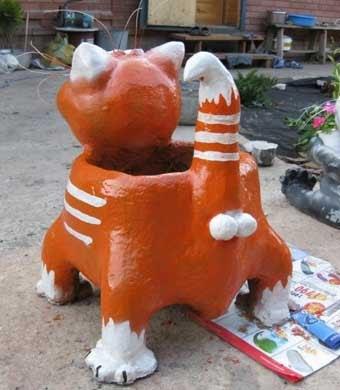 Кот из гипса для сада своими руками