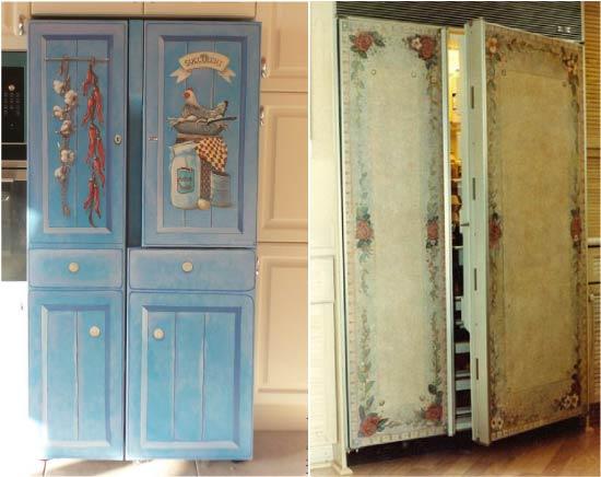 Декупаж холодильника Side-by-Side