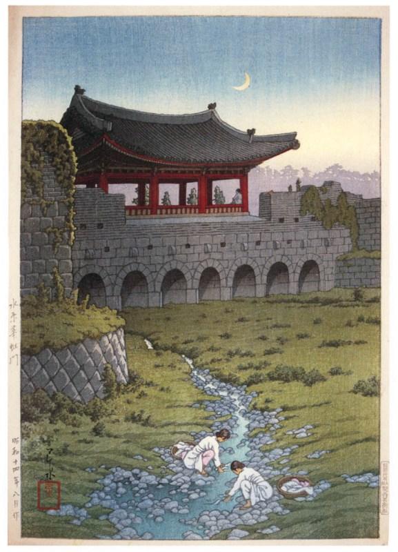 "Хасуи Кавасэ. ""Восемь видов Кореи. Ворота Хваханмун в Сувоне"" 1939, ксилография, 42,5х29,2 см."
