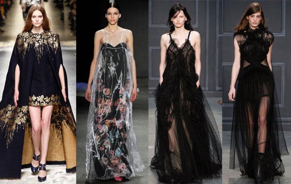 Модные вечерние платья А-силуэта осень-зима 2014/2015