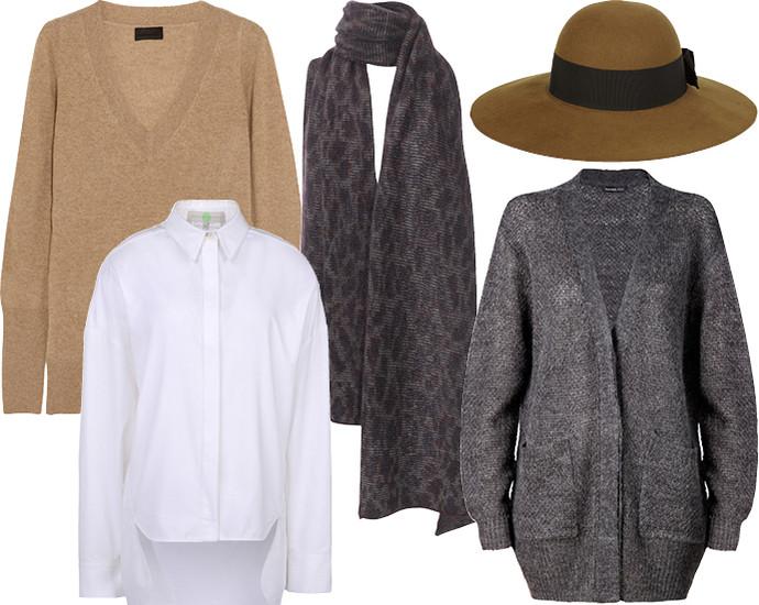 Свитер J Crew, шарф Stefanel, шляпа Saint Laurent, рубашка Stella McCartney, кардиган Mango