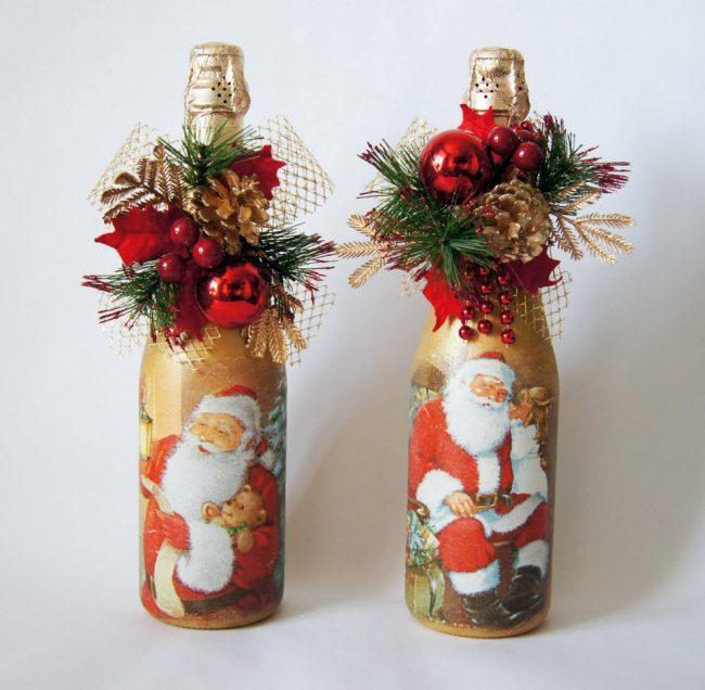 Нарядный новогодний декупаж шампанского дополнит праздничную атмосферу