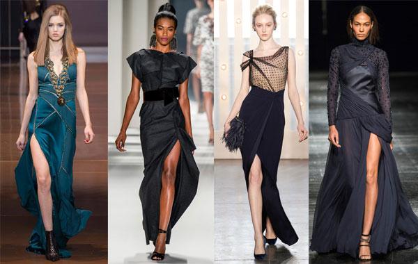 Модные вечерние платья с разрезом сбоку осень-зима 2014/2015