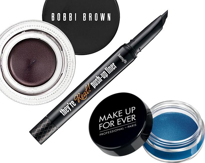 Гелевая подводка Bobbi Brown Long—Wear Gel Eyeliner, оттенок Black Mauve Shimmer; Гелевая подводка в кисти Benefit They're Real! Push-Up Liner; Кремовые тени Make Up For Ever Aqua Cream, оттенок 21