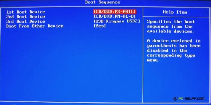 Выбор приоритета устройства 1st Boot Device в БИОС