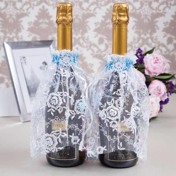 Как украсить свадебную бутылку шампанского - идеи своими руками