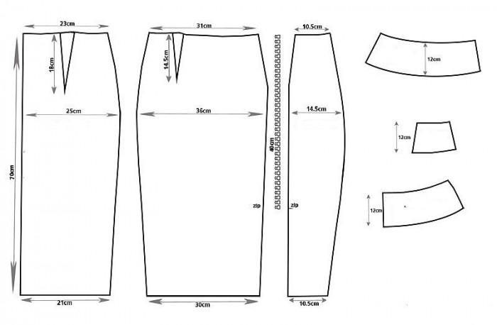 Выкройка на юбку карандаш с воланом