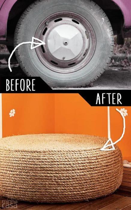 Интересный вариант трансформации старой автомобильной покрышки, который украсит любой интерьер.