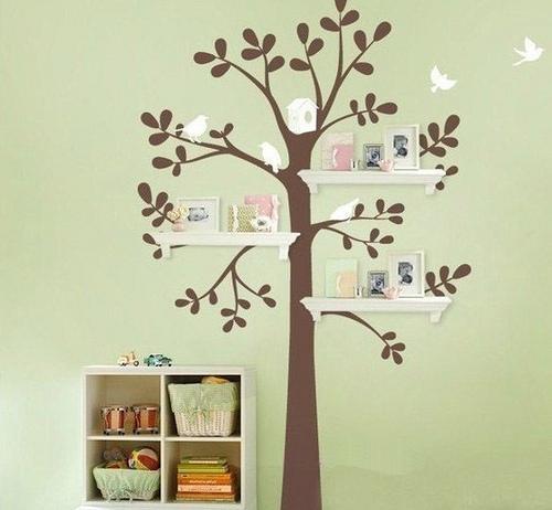 Стикеры на стену дерево с полками