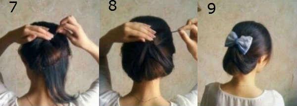 Небрежный пучок на средние волосы на основе хвоста