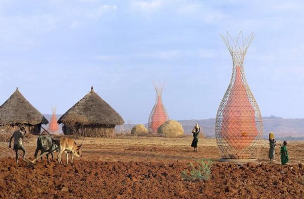 Warka Water в эфиопской деревне