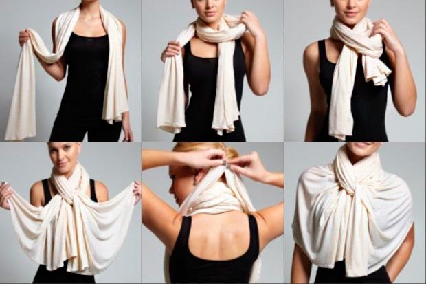 способ завязать платок на плечах и шее с помощью кольца