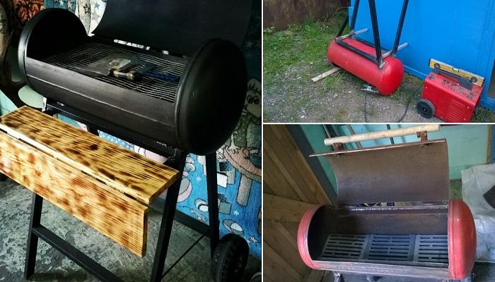 Печка-гриль из газового баллона с деревянным столиком. | Фото: pikabu.ru.