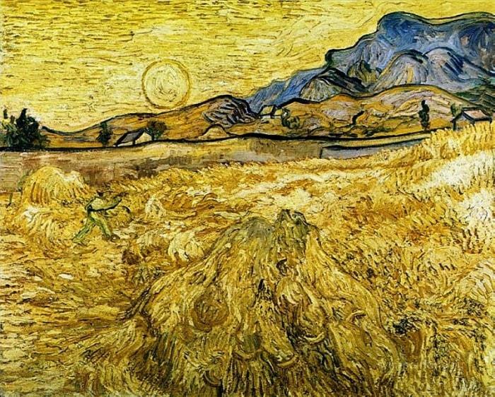 Ван Гог. Пшеничное поле со жнецом и солнцем, 1889 | Фото: gallerix.ru