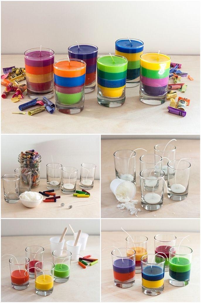 Полосатую разноцветную свечу можно изготовить самостоятельно