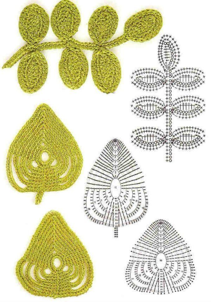 Схемы простых элементаов ирландского кружева крючком, пример 1
