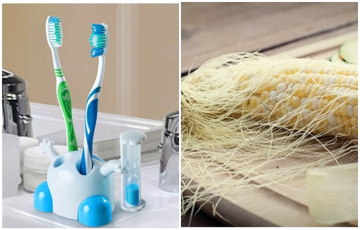 Зубная щетка быстро убирает «волосы» на кукурузе