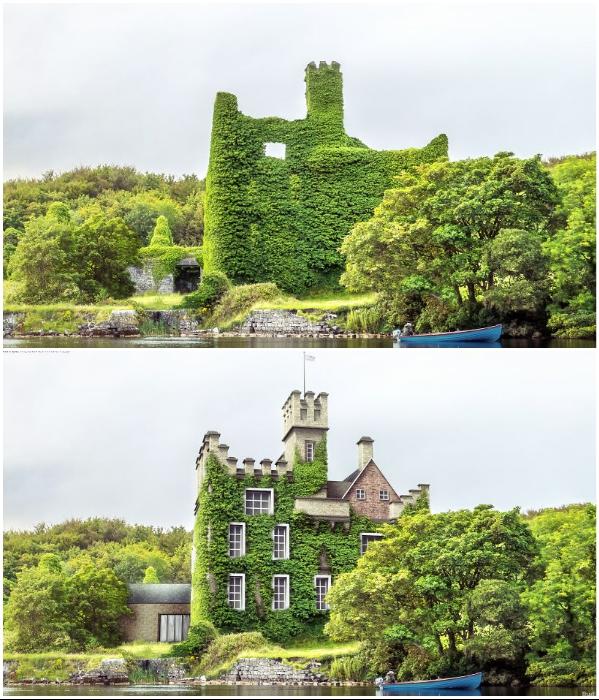 Живописные руины и цифровая реконструкция романтического замка Менло в графстве Голуэй (Ирландия). | Фото: boredpanda.com/ © budgetdirect.