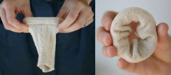 Как сделать валик из носка самостоятельно