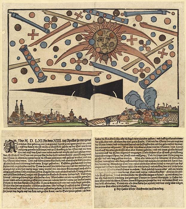 Изображение необычайной небесной битвы в Нюрнберге в 1561 году.