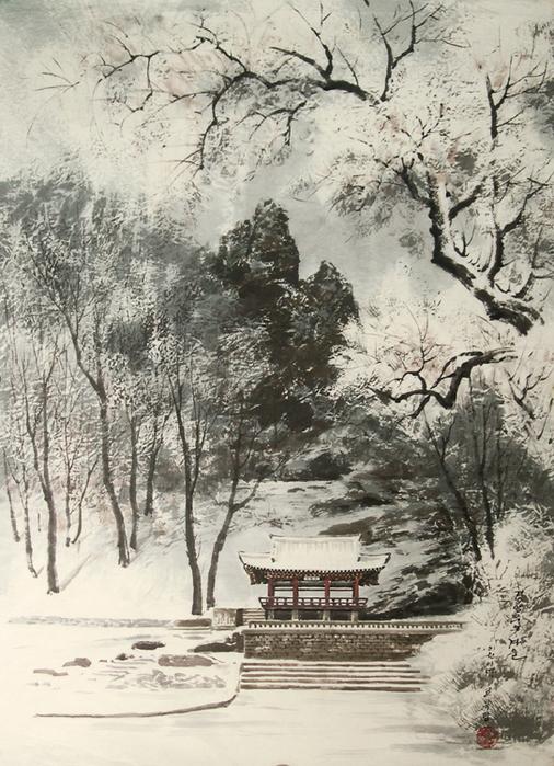 로유담_05.1_경암루의 겨울 - Павильон Кёнъамру зимой. 2002 (506x700, 482Kb)