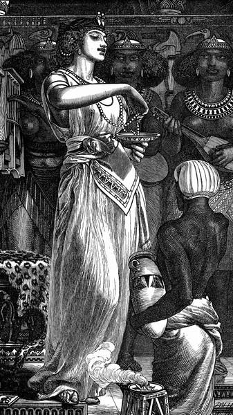 Иллюстрация к сцене растворения жемчуга в вине.