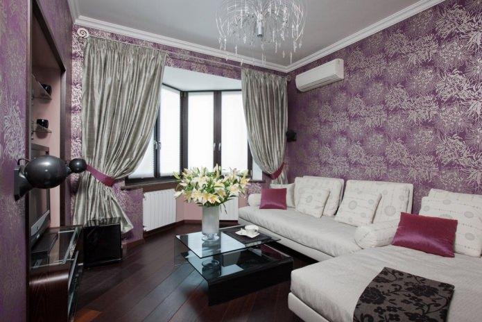 Современный фиолетовые обои для гостиной