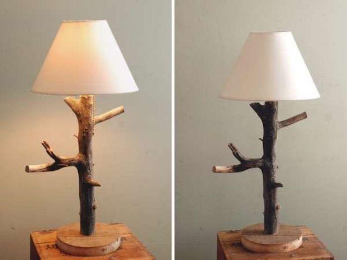 Подставка для лампы настолько лампы из натуральных материалов.