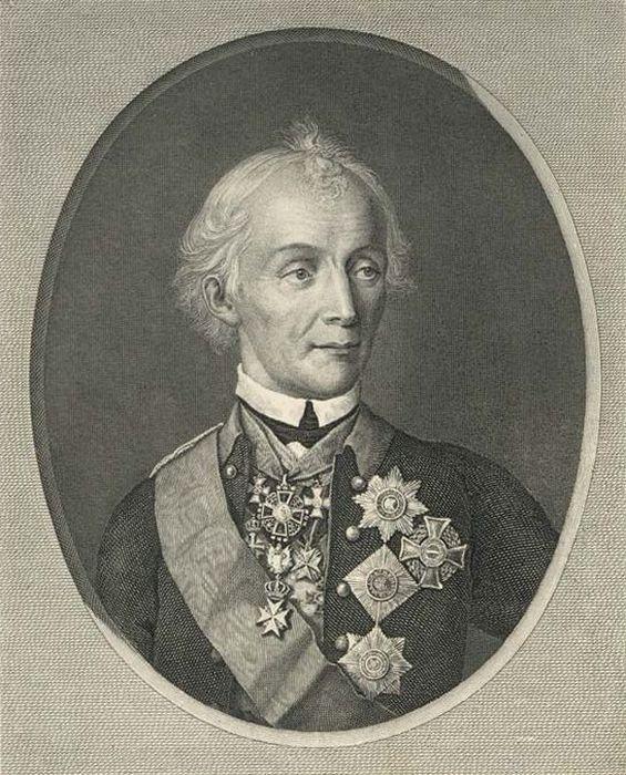 Н.И.Уткин. Портрет А. В. Суворова. 1818 г. Гравюра с портрета 1800 г.