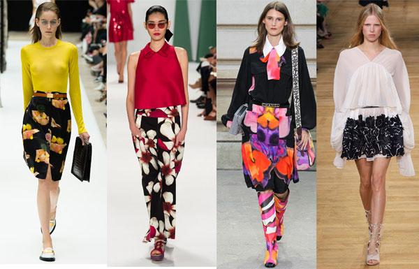 Юбки с цветами весна-лето 2015