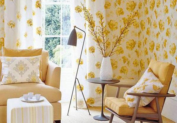 Солнечная гостиная в жёлтых тонах