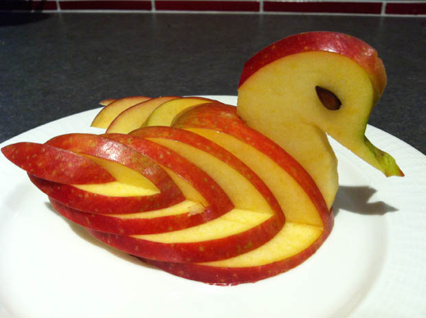 swan apple carving