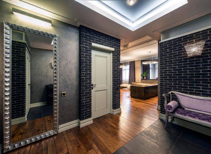 интерьер прихожей в современном стиле в серых тонах