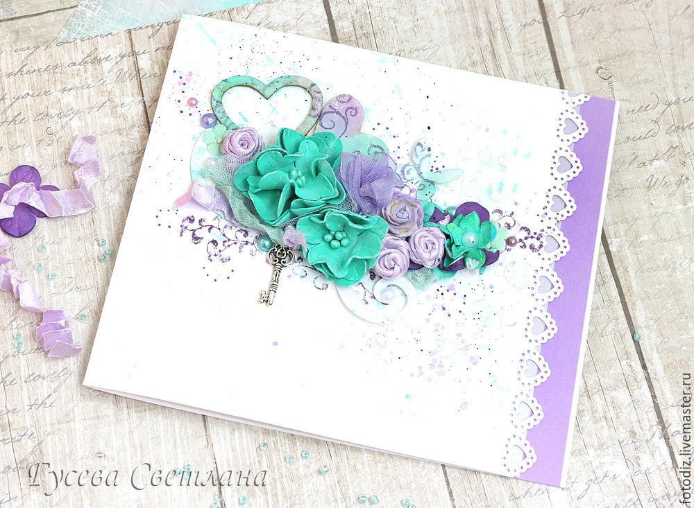 Открытка скрапбукинг с цветами из фоамирана, поздравление открытки открытка