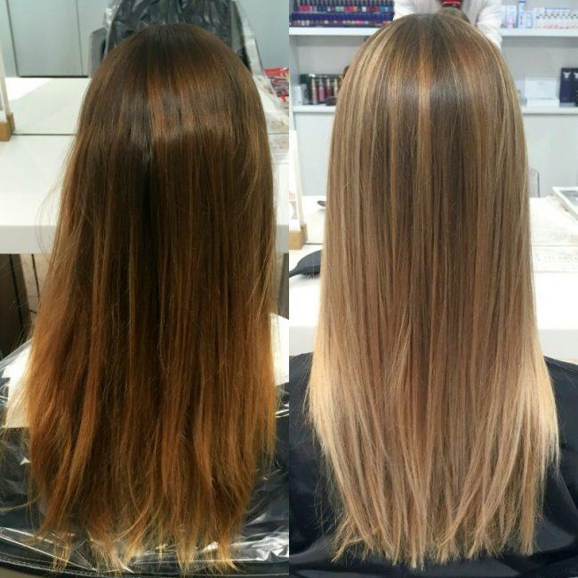 Мелирование повторное на темные волосы