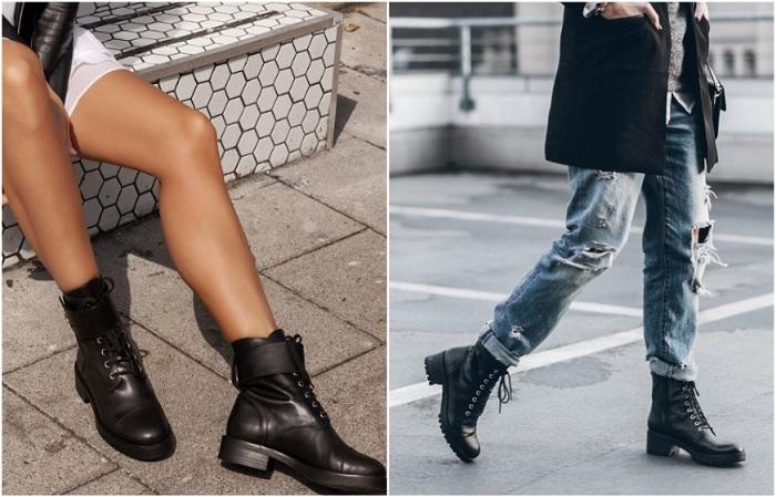 Ботинки со шнуровкой добавляют в образ немного дерзости