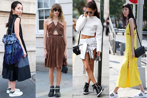 Уличная мода весна-лето 2015: Платья с кедами